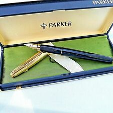 Parker 75 Custom Imperial 18K Gold Fine nib Black Fountain Pen with case France