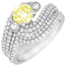Fancy Yellow GIA Certified 5 Carat Round Cut Diamond Bridal Set Ring in Platinum