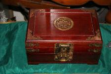 Vintage Chinese Asian Wood Jewelry Box-1 Drawer-Lid Opens-Metal Accents