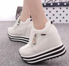 Women Platform High Wedge Heel Sneakers Trainers Ahtletic sport zipper Shoes