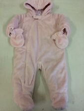 NEXT Baby Girls Pink Fluffy Soft Snowsuit Age 3-6 months Detatchable Mittens