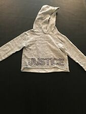 💜Justice Girls Size 6/7 Grey Cropped Hoodie💜