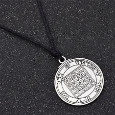 Silver Retro Amulet Necklace Key of Solomon Rune Pentacle of Saturn Pendant
