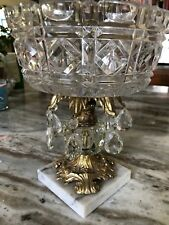 Vintage Centerpiece Glass Bowl with Brass Stand and Marble Base Candy Dish