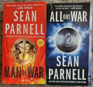 SEAN PARNELL ALL OUT WAR + MAN OF WAR PB 2 BOOK LOT THRILLER FREE SHIPPING