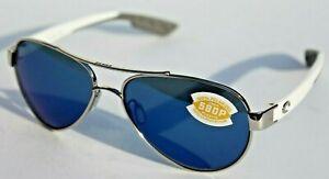 COSTA DEL MAR Loreto POLARIZED Sunglasses Palladium/Blue Mirror 580P NEW