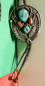 Vintage Sterling Native American Turquoise/Coral Bolo Tie Signed LJ