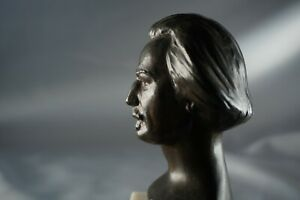 Bronze Polish Pianist Paderewski Bust  sculptor Sowinski  b1885 rare Masterpiece