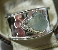 Beautiful Jewellery Sterling Silver 4.71cts Real Raw Aquamarine Stone RING T 9.5