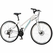 700C Women's Dual Sport Bike Schwinn White Bicycle Shimano Aluminium 21 Speed