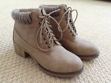 Womens Novo Ankle Boots Hiking Walking Faux Fur With Heel Brown Lace Up Size 9