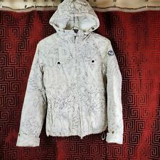 Roxy Snow Womens Ski Snowboard Jacket XS Down Feather White Outline Script Coat