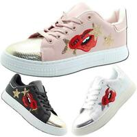 Women Pumps Flats Lace Up Ladies Trainers Shiny Toe Casual Sneakers Shoes UK 3-7