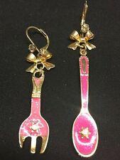 Fd4030 Women Girl Rhinestone Bow Spoon Fork Drop Oil Earrings Stud Jewelry