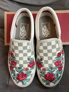 Limited Edition Rare Leather Rose Embroidered Checkerboard Vans Size 3.5