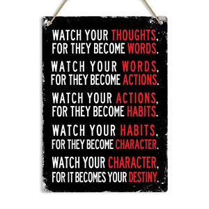 Watch Your Thoughts Motivational Quote Vintage Metal Wall Sign Plaque Home decor