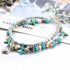 Sea Turtles Starfish Beads Charms Bracelets Anklets Bohemian Summer Foot Jewelry