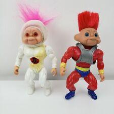 "2 Vintage 1992 Battle Trolls Action Figures 5"""