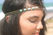 Hippie Retro Turquoise Tassel headband head piece chain elastic hair band (42)
