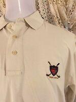 Mens RALPH LAUREN GOLF CLUB CRESTED POLO Shirt White L Large Cotton Shirt VGUC