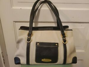 Maxx New York large Canvas Handbag w/Brown Leather Trim