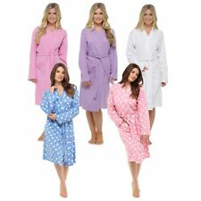 Womens Ladies Bath Robe Dressing Gown Cotton Spa Hotel Waffle Polka Dot Plain