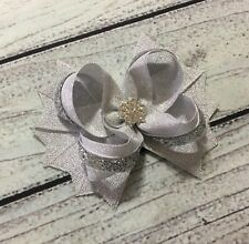 4.5� Silver Holiday Christmas Snowflake Winter Boutique Hair Bow Handmade