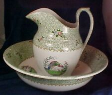 Antique Copeland Late Spode Large Pitcher and Bowl Bird Floral Designs England
