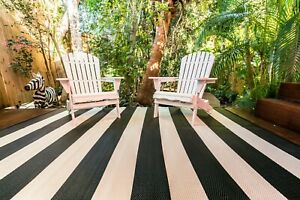 200x270cm Outdoor/ Plastic Mat  Bold Yet Elegant Black and White Stripe