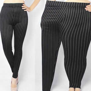 Femme Leggings Taille Haute Rayure Slim Extensible Slim Pantalon Grande Taille