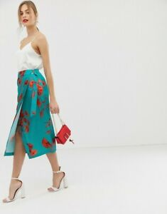 Ted Baker London Turquoise Lilyy Fantasia Split Hem Midi Skirt Size 1 MSRP: $279