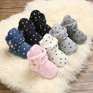 Baby Cotton Booties Non-Slip Sole Toddler Boys Girls Infant Warm Fleece Shoes