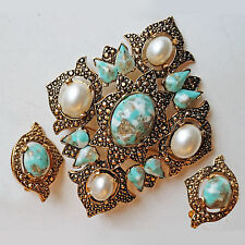 Vintage Sarah Coventry Faux Pearls & Turquoise Brooch Pin & Earrings Set