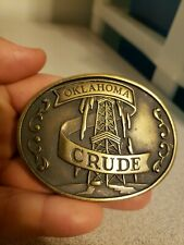 Vtg OKLAHOMA CRUDE Solid Brass Oil Well Themed Belt Buckle *SEEMS RARE?*