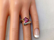 1.70Ct Genuine Natural Pink Tourmaline And Diamond Ring, Solid 14K Yellow Gold