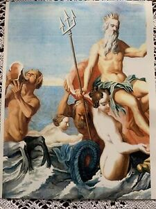 FURNITURE DECAL TRANSFER KING TRITON LARGE VINTAGE IMAGE #UP CYCLE DIY SEA SCAPE