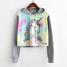 Women Colorful Star Unicorn Printed Hoodie Sweatshirt Sweater Coat Pullover Tops