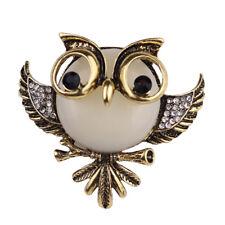 Lapel Banquet Broach Wedding Xmas Gift Crystal Owl Brooch Pin Vintage Bronze