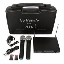 Nessun fastidio DUAL Vhf Radio Wireless Microphone System Set due palmare Mics & Custodia