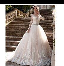 UK Plus SIze White/ivory/champagne Long Sleeve Vintage Wedding Dress Size 6-26