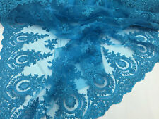 Zoewedding Palace monarchy design mesh lace fabric turquoise. Sold by the yard