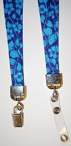Various print flat adjustable lanyard with loop or clip to attach badge, keys