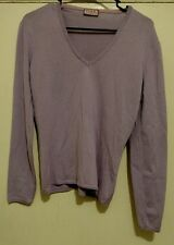 Women's Thomas Pink Merino Wool V-neck Sweater Size M