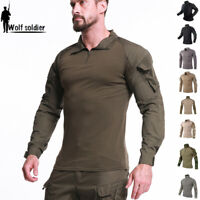 Mens Airsoft Tactical Shirt Army T-Shirt Military Hunting Long Sleeve Camo Shirt
