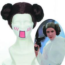 """new 30cm12""""Star Wars Princess Leia Organa Brown Styled Two Buns  Cosplay Wig"""