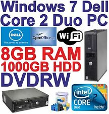 Windows 7 dell core 2 DUO 2x3.00ghz Desktop PC Computer - 8gb RAM - 1tb-Wi-Fi