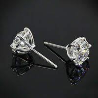 4 Ct Off White Round Brilliant Cut Moissanite Stud earrings 925 Sterling Silver