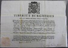 Certificato autentica Tiberio Borghesi reliquia S.Margherita da Cortona 1783