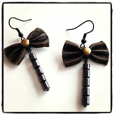 Cute Handmade Dangle Earrings Solid Copper Bow knot Natural Cylinder Hematite