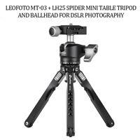 MT-03 + LH25 Spider Mini Table Tripod and Ballhead for DSLR photography Leofoto